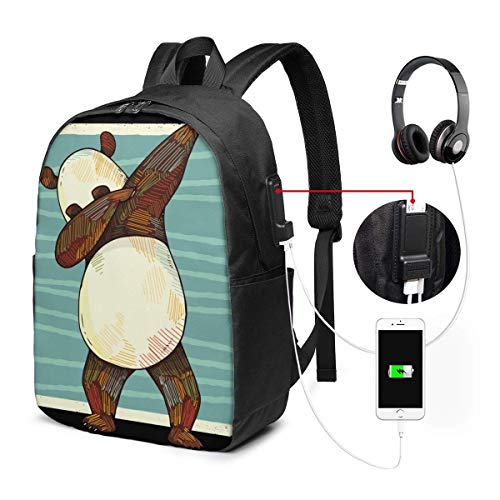 Impresionante Dabbing Panda Bear Viral Dancing Mochila para computadora portátil a prueba de agua con puerto de carga USB Puerto para auriculares Se adapta a 17 pulgadas Mochilas para computadora port