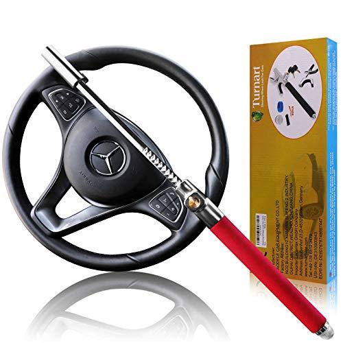 Turnart Lenkradkralle, Premium Auto Anti-Diebstahl, für Lenkräder Verschiedener Größen, Mit 3 Schlüsseln (Rot)