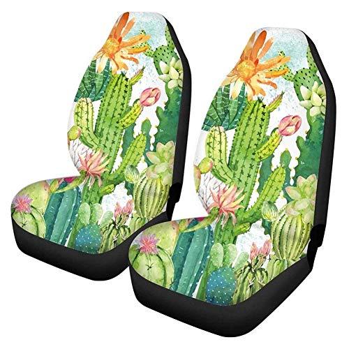 Skysep Asiento de Coche 2PCS Estampado de Cactus Fundas Asientos Delanteros Coche Universales Protector Delantero para Conductor y Copiloto Accesorios Interior para Mujer Esteras