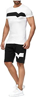 Men's Casual Tracksuit Short Sleeve and Shorts Two Pieces Outfits Set Workout Jogging Athletic Sportwear