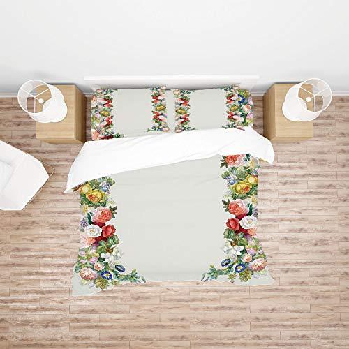 AmaUncle Victorian, Rose Garland Pastel Tones Jasmine 4Pcs Bedding Set Duvet Cover Set Bedding for Decoration AM032692 (Double)