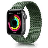 Meliya Cinturino Intrecciato Compatible con Apple Watch 38mm 40mm 42mm 44mm, Sportiva Nylon Ricambio Elastica Cinturino Compatible per iWatch Series 6/5/4/3/2/1/SE (42/44mm S, Verde)