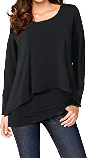 Upopby Women's Casual T-Shirt Long Sleeve Tunic Tops Batwing Layered Round Neck Loose Blouses Plus Size
