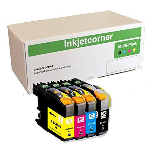 Inkjetcorner Compatible Ink Cartridges Replacement for LC203 LC203XL for use with MFC-J460DW MFC-J480DW MFC-J485DW MFC-J680DW MFC-J880DW MFC-J885DW (4-Pack)