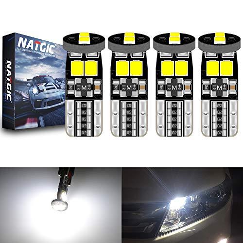 NATGIC T10 W5W 921 194 168 Ampoules LED CanBus sans Erreur 6SMD 3030 Puce pour éclairage Intérieur de Voiture Lumière de Plaque d'immatriculation Ampoules de Carte - Blanc 6000K 450LM 12V (Pack de 4)