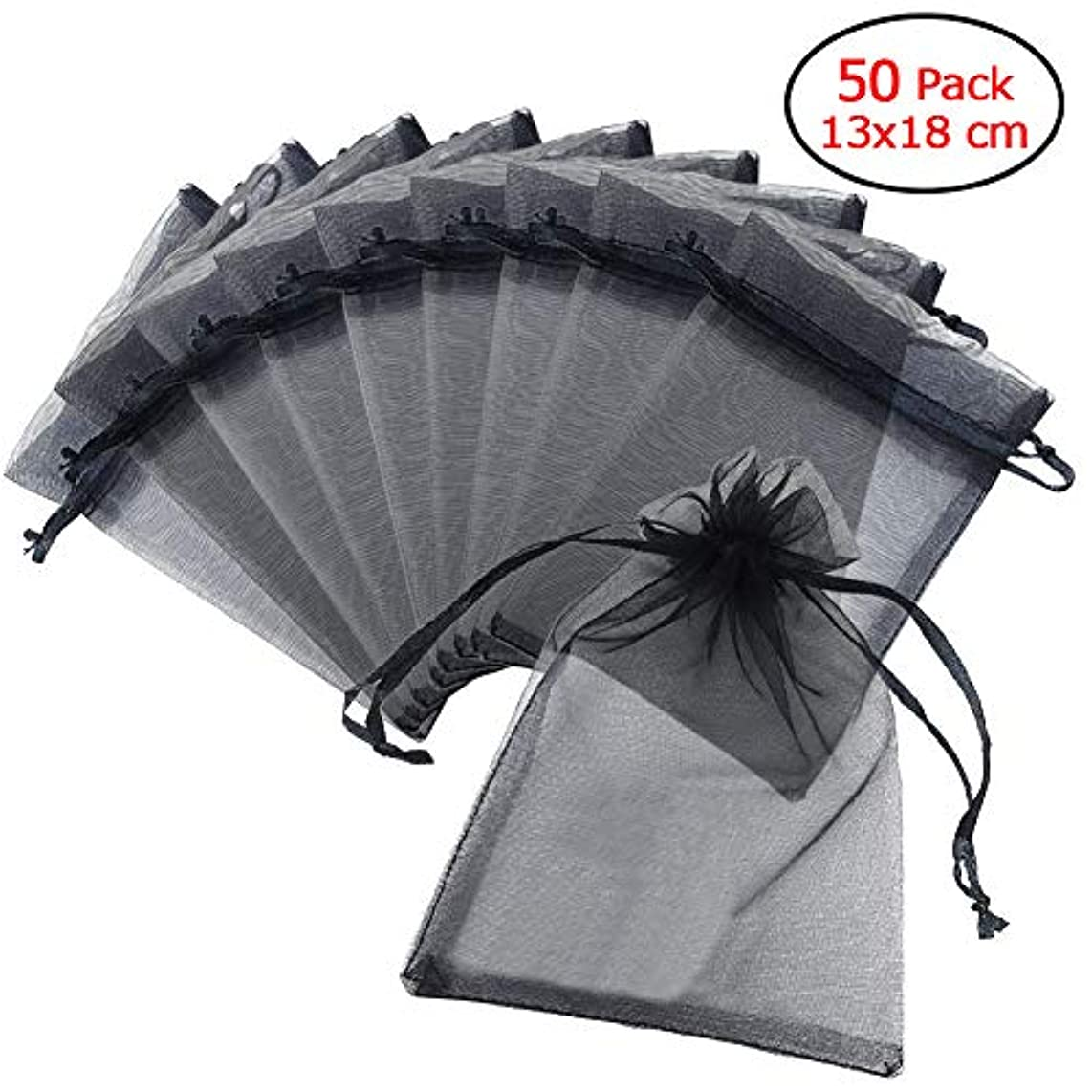 Schliersee 5x7 Black Organza Bags 50pcs Drawstring Candy Jewelry Pouches Party Festival Wedding Gift Bags