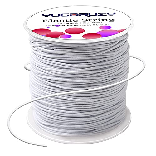 YUGDRUZY 109 Yards Elastic Cord with Sewing Scissors,2mm 328ft Craft Wire Elastic Stretch String Polyester Nylon Rope Handmade Earloop Band for DIY Jewelry Bracelet Necklace Beading Making - White
