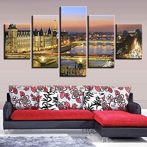 keletop Decor Modern Home Zimmer HD Drucke 5 Stücke Brückenbau Nachtszene Malerei Wandkunst Leinwandbilder Poster ModularKein Rahmen Leinwanddruck