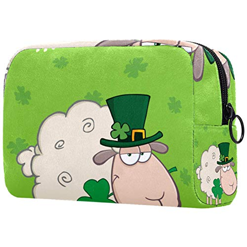 Cosmetic Bag Womens Waterproof Makeup Bag for Travel to Carry Cosmetics Change Keys etc Irish Sheep Clover