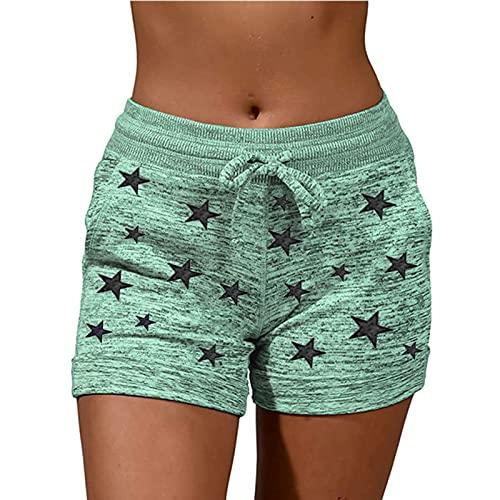 Damen Sport-Shorts, elastischer Taillenbund, Kordelzug, lässiger Druck, Sweatshorts, bequeme Shorts mit Taschen, Yoga, Laufen, grün, XL