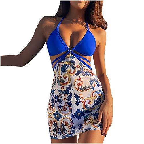 BIBOKAOKE Bikini de 3 piezas para mujer, sexy, de un solo color, sujetador y parte superior de bikini, tanga, braguita de bikini, parte superior fruncida, traje de baño para la playa