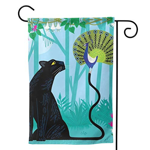 """UTWJLTL Garden Flag The Peacock and The Panther Decorative Flag Double Sided 12.5"""" X 18"""" Weather Resistant Outdoor Welcome Flag for Yard Patio Garden Outdoor Decor"""