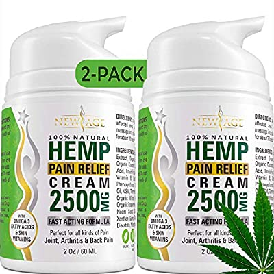 (2-Pack) Hemp Cream Pain Relief by New Age - Natural Hemp Extract Cream for Arthritis, Back Pain Muscle Pain Relief - Efficient Inflammation Cream & Carpal Tunnel Relief - Made in USA - Good for Skin by New Age