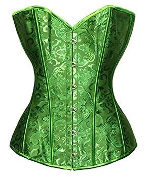 Bslingerie Womens Waist Cincher Boned Corset With Brocade XXL Green