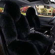 IMQOQ A Pair 50% Genuine Sheepskin Fur Car 2 Front Seat Covers Set Winter Warm Universal Black