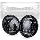 Xprite 7' Inch 75W CREE LED Headlights for Jeep Wrangler JK TJ LJ 1997-2018, with Daytime Running Light (DRL) Round...