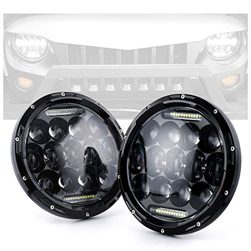 Xprite 7' Inch 75W CREE LED Headlights for Jeep Wrangler JK TJ LJ 1997-2018, with Daytime...