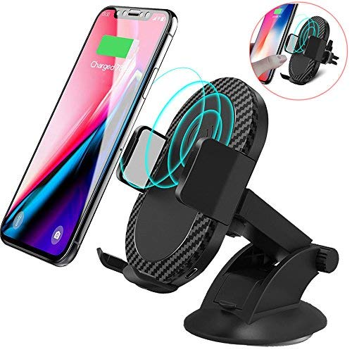 Wireless Car Charger, 2 in 1 10W Fast Wireless Charger Air Vent & Bracket Phone Holder for iPhoneX/8/8 Plus, Samsung Galaxy S9/S9+/Note 8/S8/S8 Plus/S7/S6 Edge All Qi Enabled.