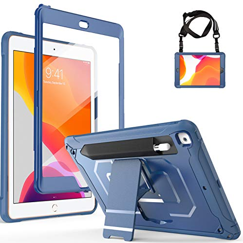 ProCase iPad 10.2 2019 Case (7th Generation), Full Body Heavy Duty Rugged Case Shockproof Cover with Built-in Screen Protector, Pencil Holder, Shoulder Strap and Kickstand, for iPad 7 -Moroccoblue