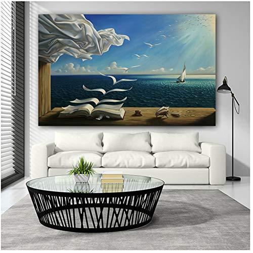 NIEMENGZHEN Druck auf Leinwand Leinwand Kunst Poster The Sea Waves Buch Segelboot Bild Leinwand Gemälde Tagebuch der Entdeckung von Leinwand print-70x90cm No Frame