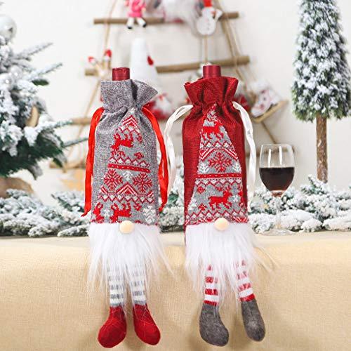 Jamicy  - Juego de 2 botellas de vino rojo de Navidad, diseño de Papá Noel, decoración de mesa de Navidad, festival, fiesta, decoración de mesa, regalo de Navidad, decoración de hotel, color gris