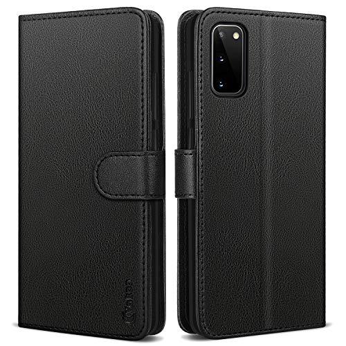 Vakoo Samsung Galaxy S20 Hülle, Samsung Galaxy S20 5G Hülle, Premium Leder Brieftasche Handytasche Schutzhülle Tasche Handyhülle für Samsung Galaxy S20/S20 5G Smartphone - Schwarz