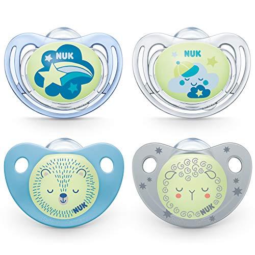 Nuk Nuk Chupete con efecto luminoso, Freestyle Night y Trendline Night, 6-18 meses, silicona sin BPA, 4 unidades, azul