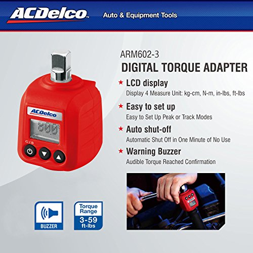 """ACDelco ARM602-3 3/8"""" (5.9 to 59 ft-lbs.) Heavy Duty Digital Torque Adapter with Buzzer and LED Flash Notification – ISO 6789 Standards with Certificate of Calibration"""