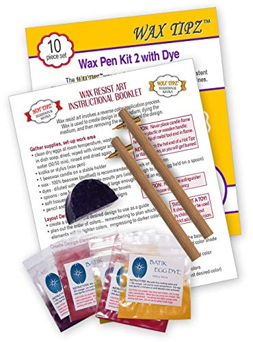 Traditional Kistka Easter Egg Decorating Kit with 2 Wax Tipz Kistkas, 6 Dyes (Black, Crimson, Orange, Yellow, Blue, Green), 1 Half Moon Beeswax and Instructions