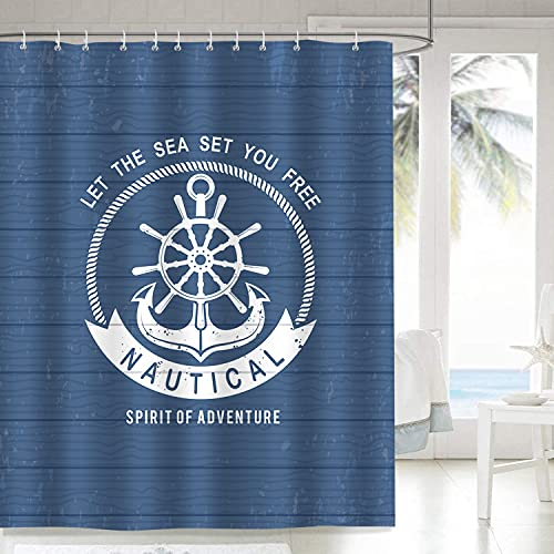 Bonhause Duschvorhang 180 x 180 cm Nautische Anker Marineblau Duschvorhänge Anti-Schimmel Wasserdicht Polyester Stoff Waschbar Bad Vorhang für Badzimmer mit 12 Duschvorhangringen