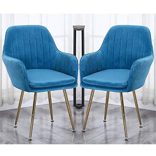 zyy Juego de 2 sillas de cocina retro sillas de comedor, sillones de terciopelo suave con cojín trasero patas de metal, sillas de cocina, para comedor y sala de estar
