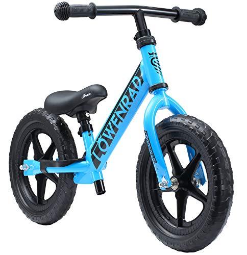 LÖWENRAD Kinderlaufrad ab 3, 4 Jahre, 12 Zoll Jungen und Mädchen Laufrad, leichtes Kinderrad Lauflernrad höhenverstellbar, Blau | Risikofrei Testen