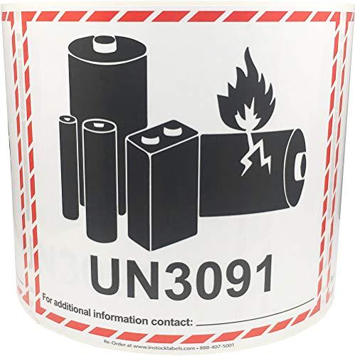 UN3091 Caution - Etiquetas adhesivas para batería de litio (11,4 x 12,7 cm, 500 unidades)