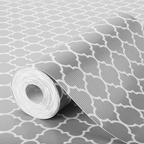 Glotoch Shelf Liner 175 x 30 ft - Non Adhesive Refrigerator Kitchen Drawer Liners Waterproof and Durable Fridge Table Place Mats for Cupboard Cabinet Drawer Liner Quatrefoil Gray