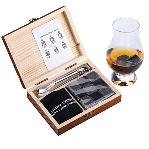 Whiskey Chilling Stones Geschenkset für Männer - 9 Whisky Scotch Bourbon Steine in Holzbox, Vatertag/Weihnachten/Geburtstag/Jubiläum/Ruhestand/Geschenk für Vater Papa Freund Kollegen