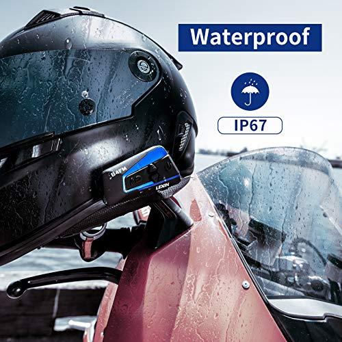 LEXIN 2pcs B4FM Interfono Moto Con Radio FM, Comunicazione Di Auricolare Bluetooth Per Casco Con Cancellazione Del Rumore Fino a 4 Motociclisti, Wireless Universale Fuoristrada/Motociclo/Motoslitta