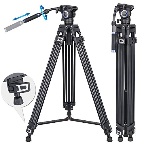 """72.8 inch Video Tripod Fluid Head Tripod Heavy Duty Tripod ARTCISE Professional Aluminium Tripod with 1/4"""" Screws Fluid Drag Pan Head for DSLR Cameras Video Camcorders, Load Capacity Up to 20 Pounds"""