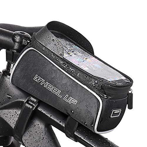 Bike Frame Bag Impermeable, Bicicleta Bolsa Manillar,Soporte Bolsa Táctil con El Visera del Sol para Debajo DE 6.8' Teléfono Gran Capacidad