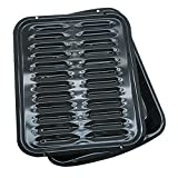 Range Kleen Broiler Pans for Ovens - BP102X 2 Pc Black Porcelain Coated Steel Oven Broiler Pan with...