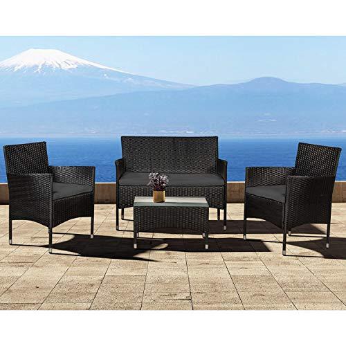 ArtLife Polyrattan Gartenmöbel-Set Fort Myers schwarz – Sitzgruppe mit Tisch, Sofa & 2 Stühlen - Balkonmöbel für 4 Personen mit grauen Auflagen - 2