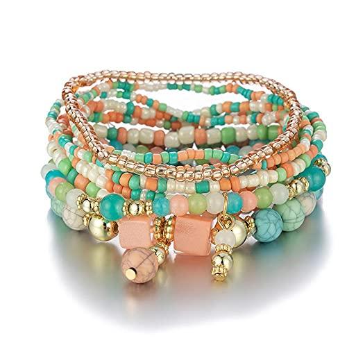 Hinleise Pulsera de mujer bohemia multicapa turquesa cuentas pulsera joyería regalo para mujeres