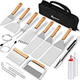 ROMANTICIST 20pcs BBQ Griddle Accessories Cooking Kit, Heavy Duty Wooden Handle Grill Utensils Tool Set, Stainless Steel Spatula, Tongs, Scraper for Flat Top, Teppanyaki, Hibachi, Camping, Tailgating