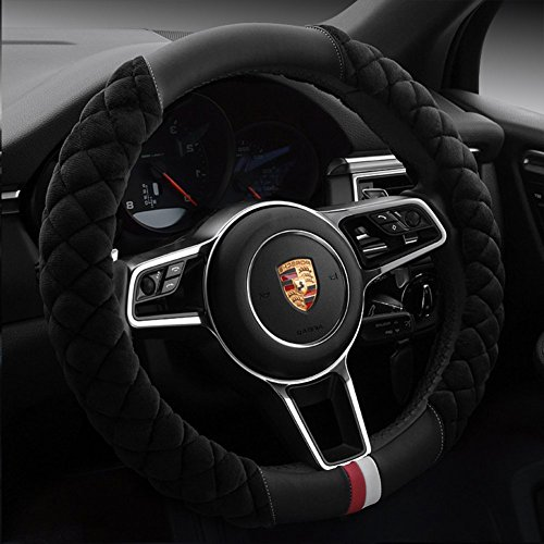 Cxtiy Universal Car Steering Wheel Cover Fluffy Winter Plush Steering Wheel Cover (A-Black)