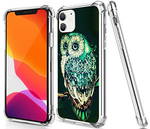 Gifun Schutzhülle für iPhone 12/12 Pro, Hartschale, PC + TPU, transparent, kompatibel mit iPhone 12/12 Pro 15,5 cm (6,1 Zoll) Version 2020 – Vintage-Eule