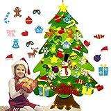 NSSTAR Árbol de Navidad de fieltro suave con adornos y cadena de luces LED para...