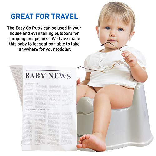 EasyGoProducts Potty Training Seat for Boys and Girls-Ergonomic Design and Anti-Splash Feature Toilet Trainer, Toddle Potty Chair–Patent Pending, White with Lid