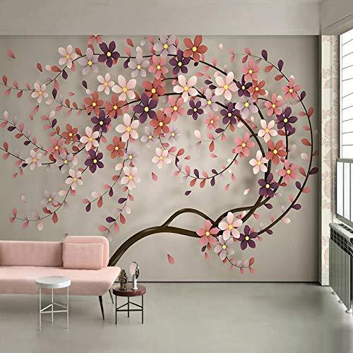 Papel tapiz fotográfico 3D, papel tapiz de pintura de pared de árbol de flores para sala de estar, restaurante, dormitorio, Mural grande, papel de pared Floral-350x256cm