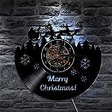 BFMBCHDJ Silueta Moderna Sala de Estar Decoración Luz de Fondo LED Vinilo Reloj de Pared Cambio de Color Feliz Navidad Ciervo Tema Interior