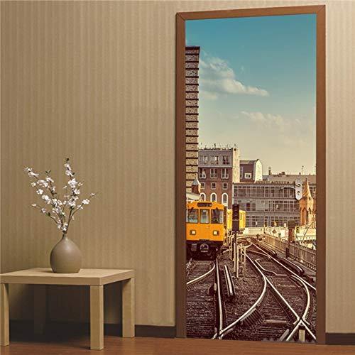DFKJ Landschaft Tür Aufkleber Wandbild Poster Abnehmbarer Raum DIY Wallpaper Aufkleber Home Decoration Zubehör A28 77x200cm