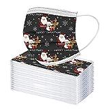 50 Stück Weihnachten Gesichtsschutz Einweg, Mundschutz Einweg mit Motiv Weihnachten Bunt, 3-lagiger Face Visier Weihnachtsmotiv Erwachsene Staubs-chutz Mundbedeckung, Gesichtsschutzschild (Q)